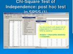 chi square test of independence post hoc test in spss 1