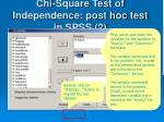 chi square test of independence post hoc test in spss 2