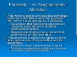 parametric vs nonparametric statistics