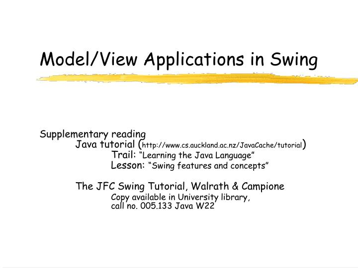 model view applications in swing n.