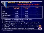 example 2 calculating wcpi when weightage is stated