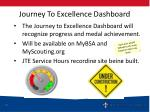 journey to excellence dashboard