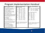 program implementation handout