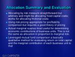 allocation summary and evaluation
