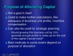 purpose of allocating capital