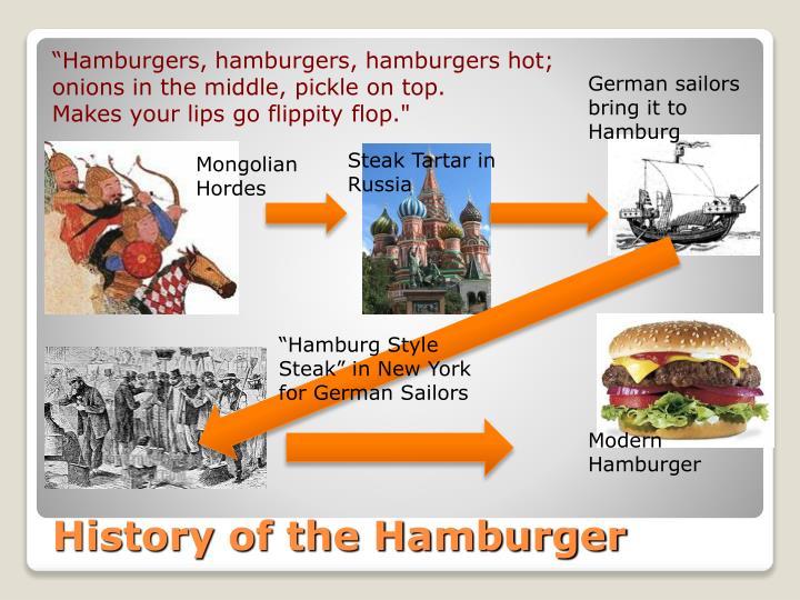 """Hamburgers, hamburgers, hamburgers hot;"