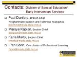 contacts division of special education early intervention services