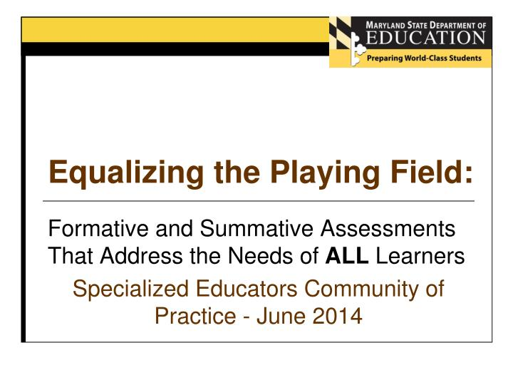 equalizing the playing field n.