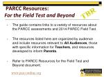 parcc resources for the field test and beyond