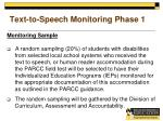 text to speech monitoring phase 11