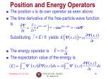 position and energy operators