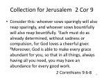 collection for jerusalem 2 cor 9