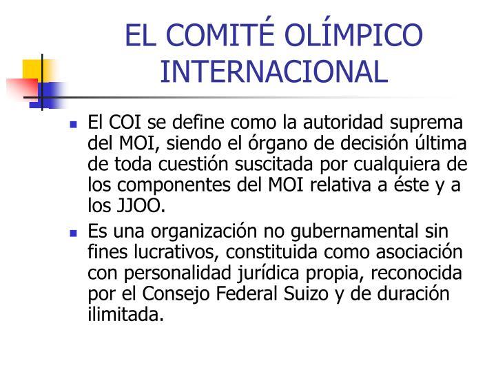 EL COMITÉ OLÍMPICO INTERNACIONAL
