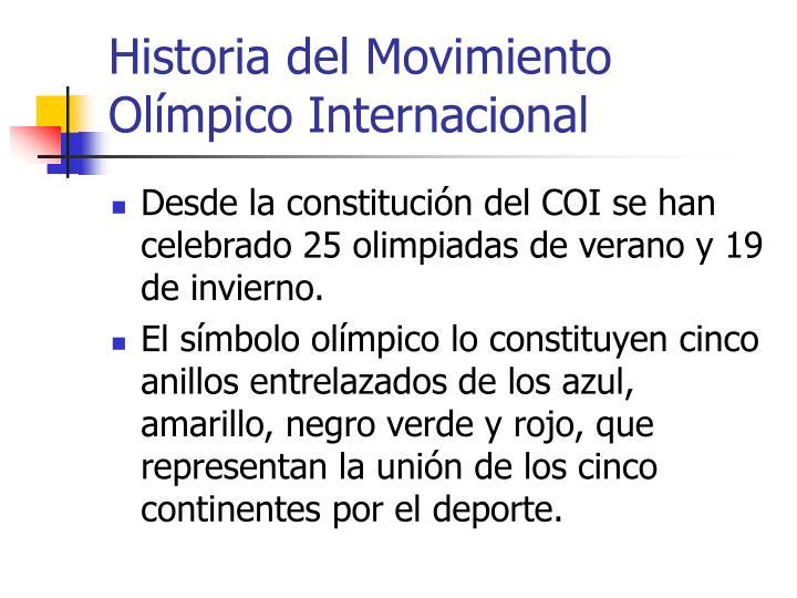Historia del Movimiento Olímpico Internacional