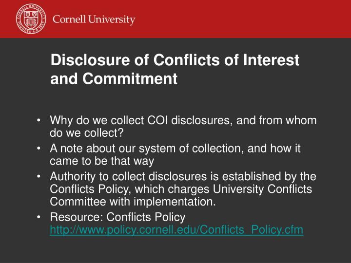 disclosure of conflicts of interest and commitment n.