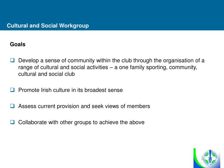 Cultural and Social Workgroup