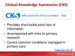 clinical knowledge summaries cks