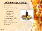 let s manage a party