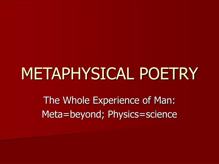 metaphysical poetry n.