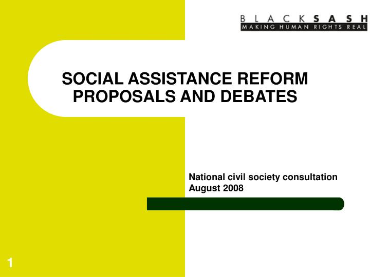 social assistance reform proposals and debates n.