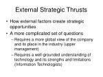 external strategic thrusts