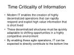time criticality of information