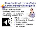 characteristics of learning styles aural language intelligence