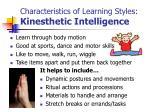 characteristics of learning styles kinesthetic intelligence