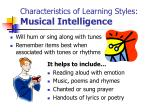 characteristics of learning styles musical intelligence