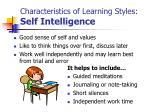 characteristics of learning styles self intelligence