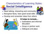 characteristics of learning styles social intelligence