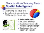 characteristics of learning styles spatial intelligence