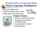 characteristics of learning styles visual language intelligence