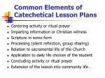 common elements of catechetical lesson plans
