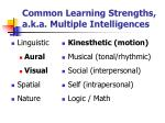 common learning strengths a k a multiple intelligences