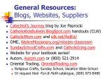 general resources blogs websites suppliers