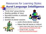 resources for learning styles aural language intelligence