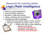 resources for learning styles logic math intelligence