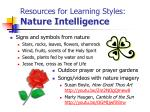 resources for learning styles nature intelligence