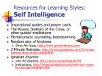 resources for learning styles self intelligence