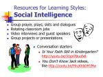 resources for learning styles social intelligence