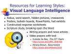 resources for learning styles visual language intelligence