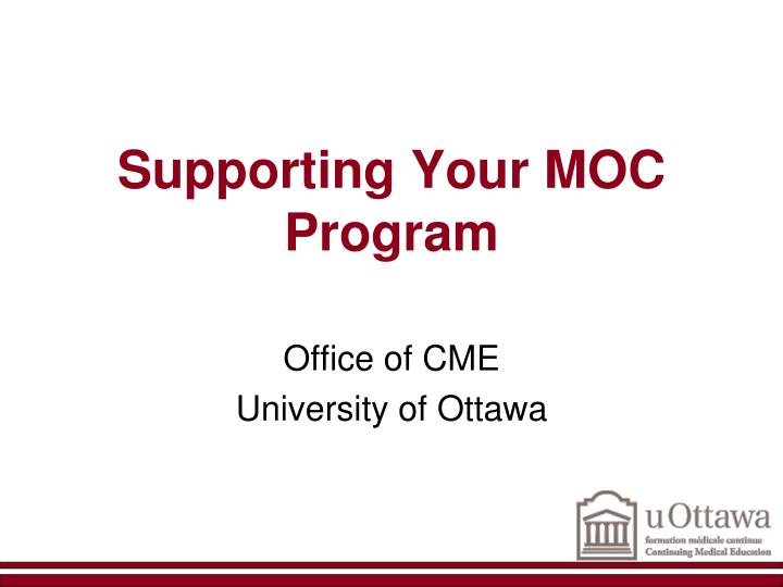 supporting your moc program n.