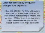 listen for a mutuality or equality principle paul expresses