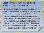 listen for what paul was boasting about to the macedonians