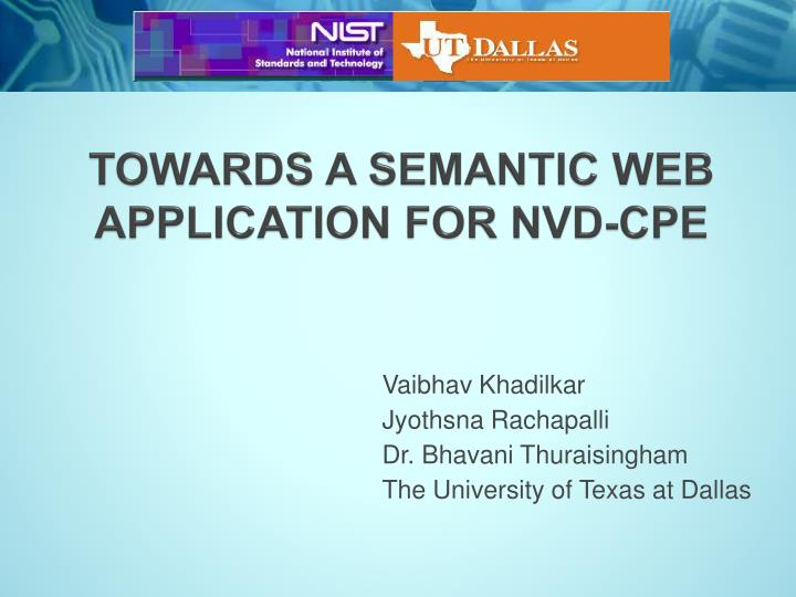 towards a semantic web application for nvd cpe n.