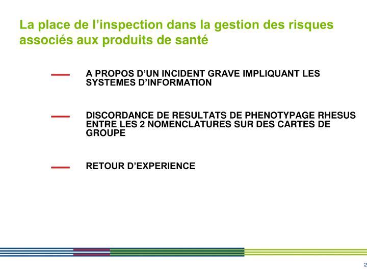 La place de l inspection dans la gestion des risques associ s aux produits de sant