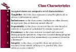 class characteristics