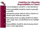guidelines for allocating responsibilities to classes