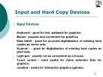 input and hard copy devices